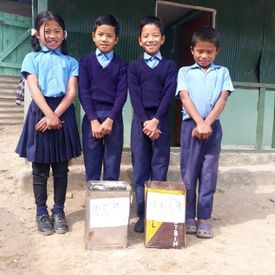Padeng students with their waste management program